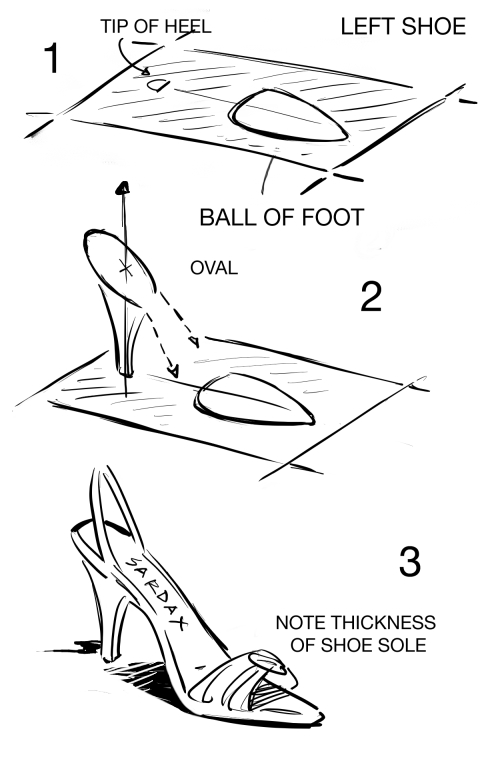 how to draw a high heel shoe step by step